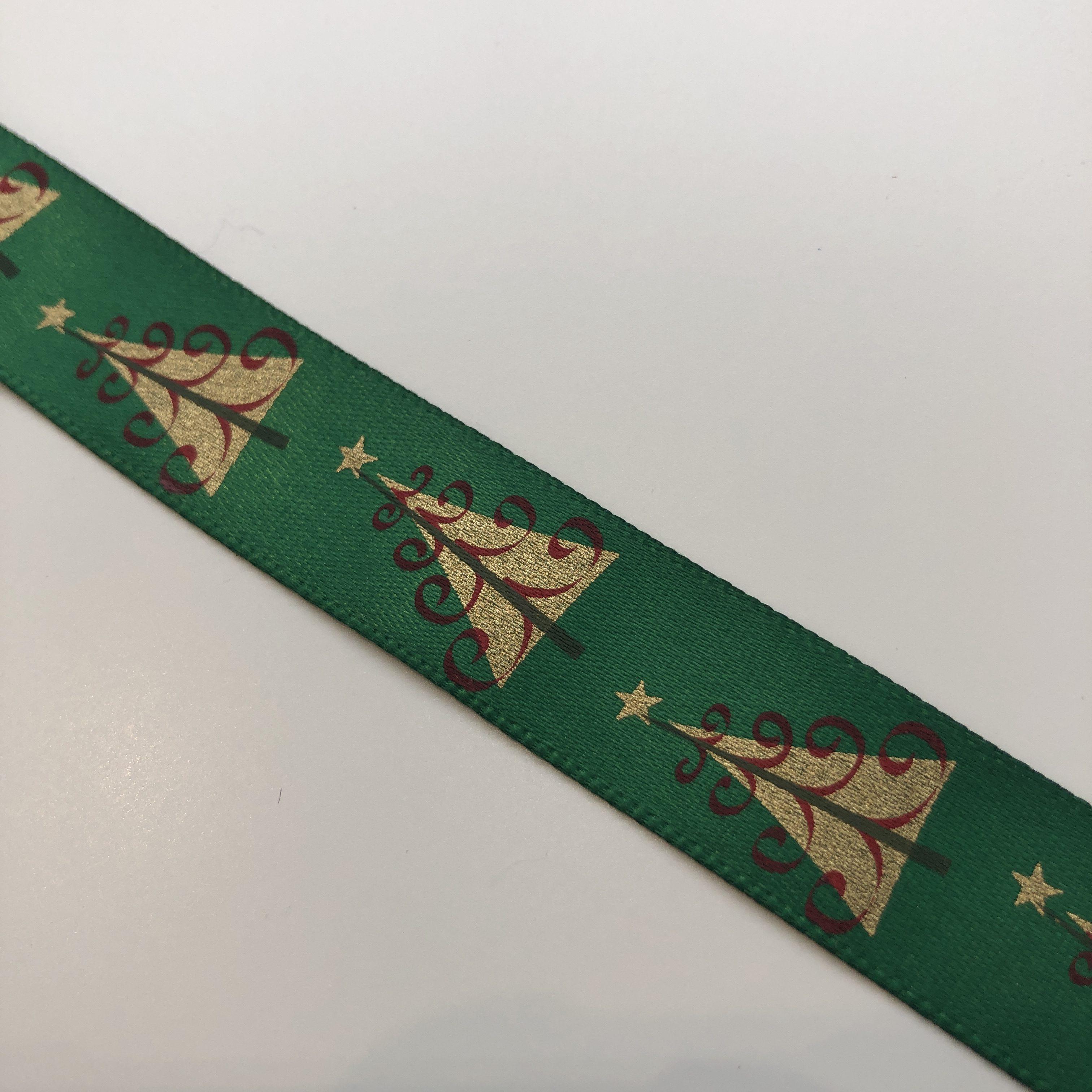 Printed Green Christmas Tree Ribbon