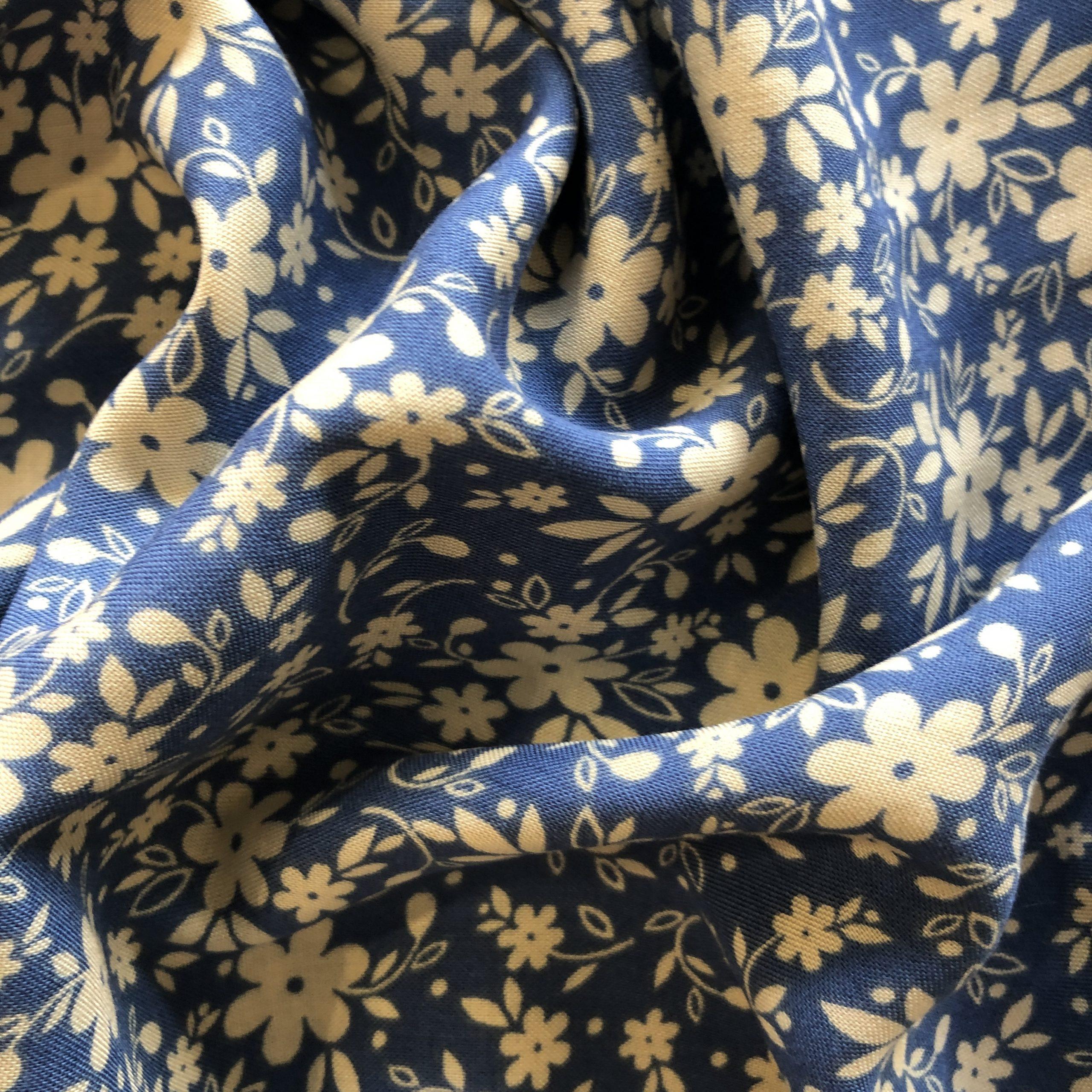 Mid Blue Floral Print Viscose